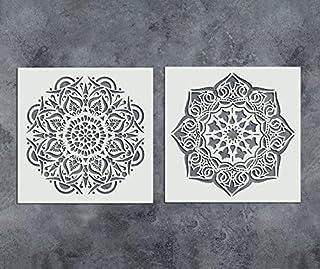 GSS Designs - Juego de 2 plantillas de mandala, 305 x 305 mm, reutilizables