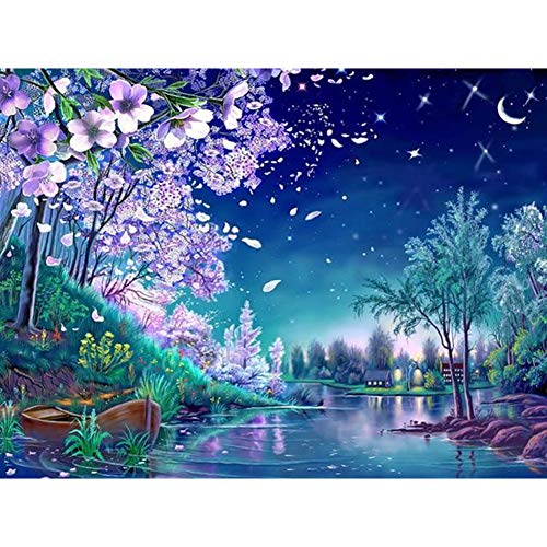 DIY 5D Diamond Painting Kits for Adult, Casual Digital Painting Full Drill Combination- Arts and Crafts Indoor Wall Decorations (Purple Flower Tree)