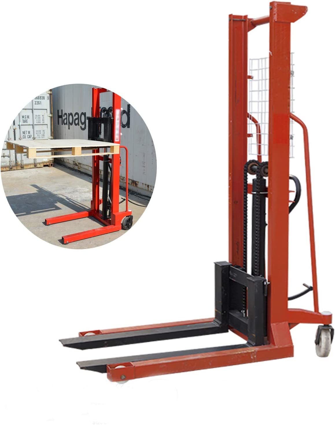 TECHTONGDA Manual Stacker Hand Pump Inventory cleanup selling sale Capa Truck Lift with Virginia Beach Mall 2204lbs