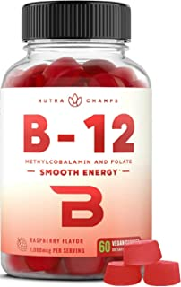 Vitamin B12 Gummies Enhanced with Folate (Plant-Based Vegan Gummy) Premium Methyl B-12 for Energy, Mood, Metabolism Suppor...