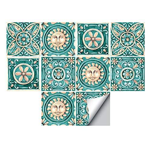 Alwayspon Piazza vinile piastrelle Adesivo, Autoadesivo della parete delle decalcomanie per piastrelle per la decorazione domestica Soggiorno Cucina 20x20cm maiolica