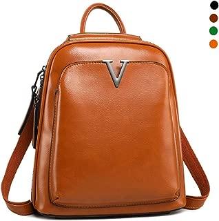 Cowhide Leather Women Backpack, Ladies Casual Daypack Backpack Rucksack Girls Shoulder Bag Student School Bag Water Resistant Anti Theft,Orange