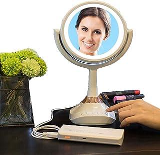 照明付き化粧鏡 化粧品化粧台ミラー付きLEDライト、化粧台ライト付きミラータッチスクリーン180度回転調節可能、5倍拡大、化粧鏡付きブルートゥースドレッシングミラー 化粧鏡 (Color : White, Size : 6 inches)