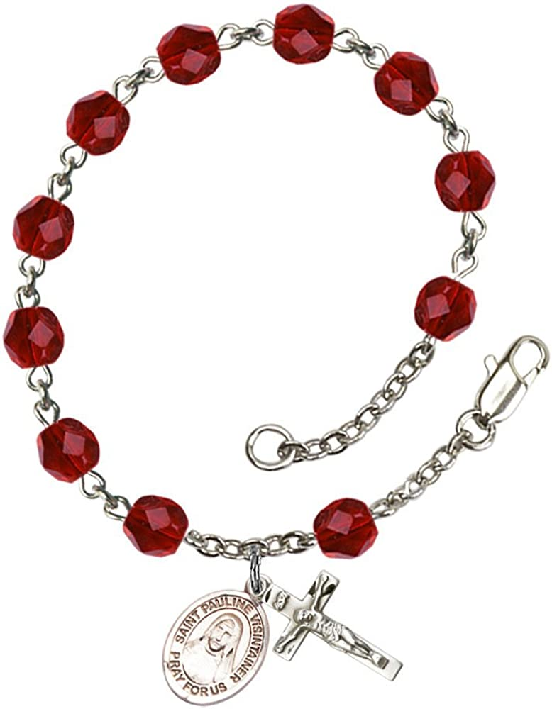 St. Pauline Visintainer Silver Plate Re 6mm Bracelet July Recommendation Low price Rosary