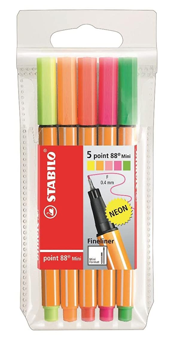 Stabilo Point 88 Fineliner Mini Pens, 0.4 mm Fineliner - 5-Color Wallet Neon Set