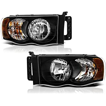 Amazon Com Pair Of Black Housing Clear Lens Headlight Headlamp Assembly Replacement For Dodge Ram 1500 2500 3500 Pick Up 02 05 Automotive