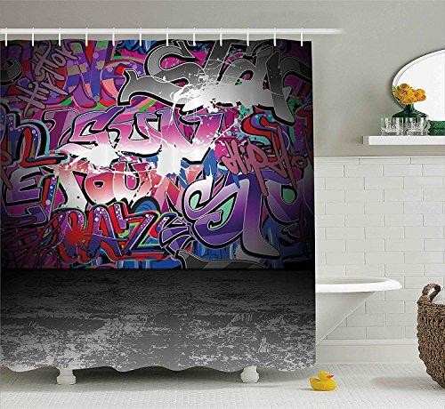 Nyngei Graffiti Decir Duschvorhang von Urban Grunge Street Art Wand Hintergr& mit Hip Hop Funk Figuren Design Stoff Badezimmer Dekor Set mit lang Lila Silber
