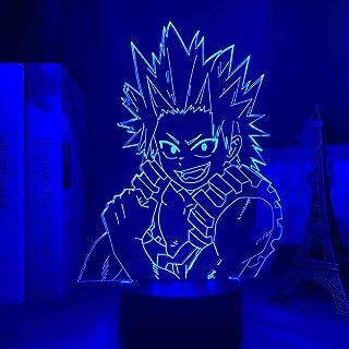 BTEVX Lámpara LED 3D de Anime brillante My Hero Academia LED Eijiro Kirishima Lámpara de habitación Deco Regalo de cumpleaños Lámpara táctil para niños 7 colores