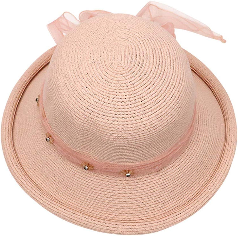 Women's Straw hat Sun hat, Summer Foldable WideBrimmed hat Outdoor Beach hat Sunscreen HandWoven Visor,Adjustable Cap