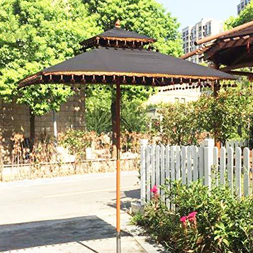 WWWRL Gartenschirm Holz | 1.8 x 1.8 m | Höhe 2.5m | Terrasse Sonnenschirm Regenschirme, UV-Schutz - Winddicht, Groß Mit Fransen Strand Außen Regenschirme - Balkon Schirme - Schwarz Quadrat