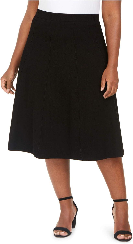 Anne Klein Womens Plus Texured Pintuck A-Line Skirt