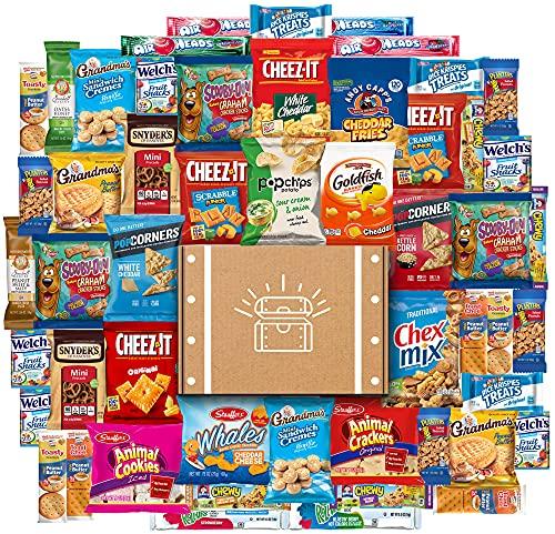 Paket Perawatan Utama Snack Chest (50 Hitungan) termasuk Makanan Ringan, Kue Kering, Keripik, Kerupuk, dan Lebih Banyak Sampler Paket Variety Massal