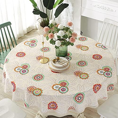 Cozomiz Mantel de lino y algodón bohemio, con dobladillos de encaje para mesa redonda, cubierta protectora de muebles, estilo moderno y decorativo, 2 diámetros: 43 pulgadas