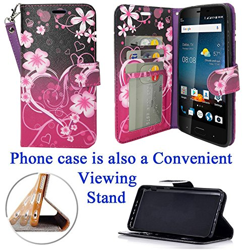 "for 5.5"" ZTE BLADE V8 PRO bladev8pro Case Phone Case Designed Wallet Fold Kick Stand Hybrid Pouch Card Pocket Purse Screen Flip Cover (Big Heart)"