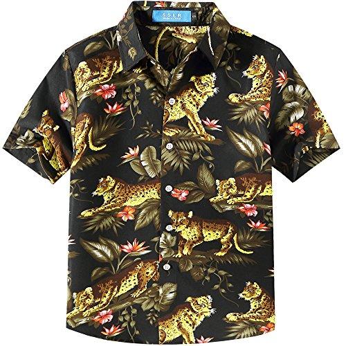 SSLR Jungen Hawaiihemd Baumwolle Kurzarm Hemd für Strand Freizeit Tiger 3D Print Aloha Reise Shirts (Medium (9-11Jahren), Schwarz)