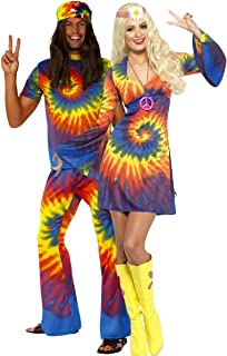 Mens & Ladies Couples Tie Dye Hippy Hippie 1960s 60s Multi-Coloured Matching Fancy Dress Costume Outfits