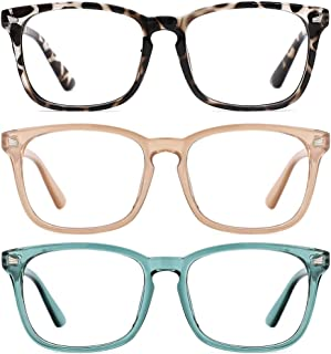 TIJN 3 Pack Stylish Square Non-Prescription Glasses Clear Lens Eyewear for Women Men