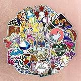 BUCUO Alicia en el país de Las Maravillas Pegatina Hada Chica Manual de Dibujos Animados Casco Impermeable Pegatina para Equipaje 50 Uds