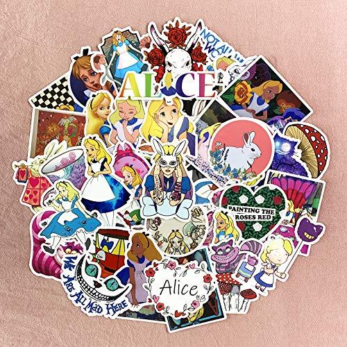 JZLMF Alicia en el país de las maravillas pegatinas hada niña dibujos animados manual casco impermeable etiqueta de equipaje