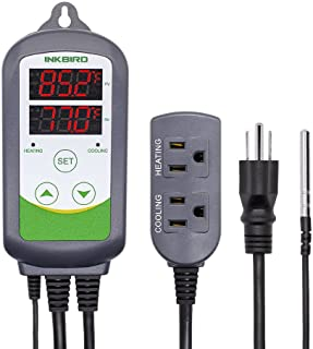 Inkbird ITC-308 Digital Temperature Controller 2-Stage Outlet Thermostat Heating and Cooling Mode Carboy Homebrew Fermenter Greenhouse Terrarium 110V 10A 1100W