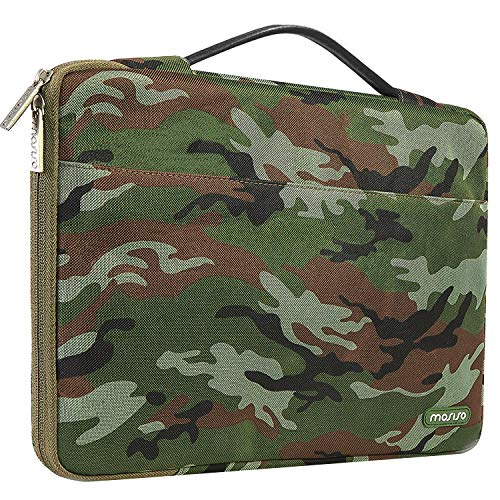 MOSISO Laptop Sleeve 360 Protective Case Bag Compatible with 13-13.3 inch MacBook Pro, MacBook Air,Notebook with Trolley Belt,Polyester Shockproof Carrying Case Briefcase Handbag,Army Green Camouflage