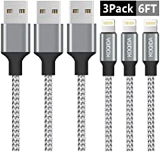 iPhone Charger, KOQIDA Lightning Cable 3Pack 6FT Extra Long Nylon Braided Cables Syncing and Fast Charging Cord Compatible with iPhone 11 Pro Max XS XR X 8 7 6S 6 Plus SE 5S 5C 5 iPad(Gray)
