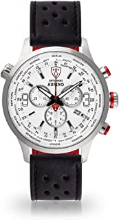 DETOMASO AURINO Mens Watch Chronograph Analogue Quartz Black Racing Leather Strap White Dial DT1061-D-841