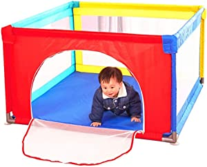 YEHL Playpen Activity Center for Babies and Kids  Portable Play Yard with Mattress Balls 4-Panel Play Pen  Extra Tall 70cm  color Multicolor  Size 120x120cm
