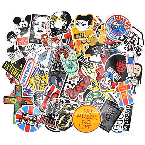 makstore 60 Stücke Rock and Roll Punk Band Musik Aufkleber Stickers für Laptop Handy Pad Autos Motorrad Fahrrad Graffiti Patches Skateboard