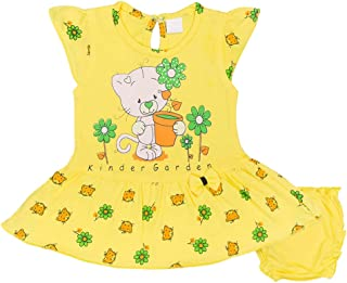 Hopscotch Baby Girls Cotton Half Sleeves Printed Dress with Bloomers in Yellow Color