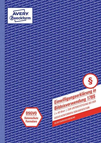 AVERY Zweckform 1765 Einwilligung Bildnisverwendung (nach DSGVO, A4, selbstdurchschreibend, 2x40 Blatt, Datenschutzformular) weiß/gelb