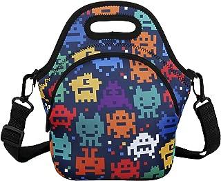 Violet Mist Unicorn Neoprene Insulated Lunch Bag Tote Large with Extra Pocket Waterproof Detachable Adjustable Shoulder Lunchbox Handbags Multi
