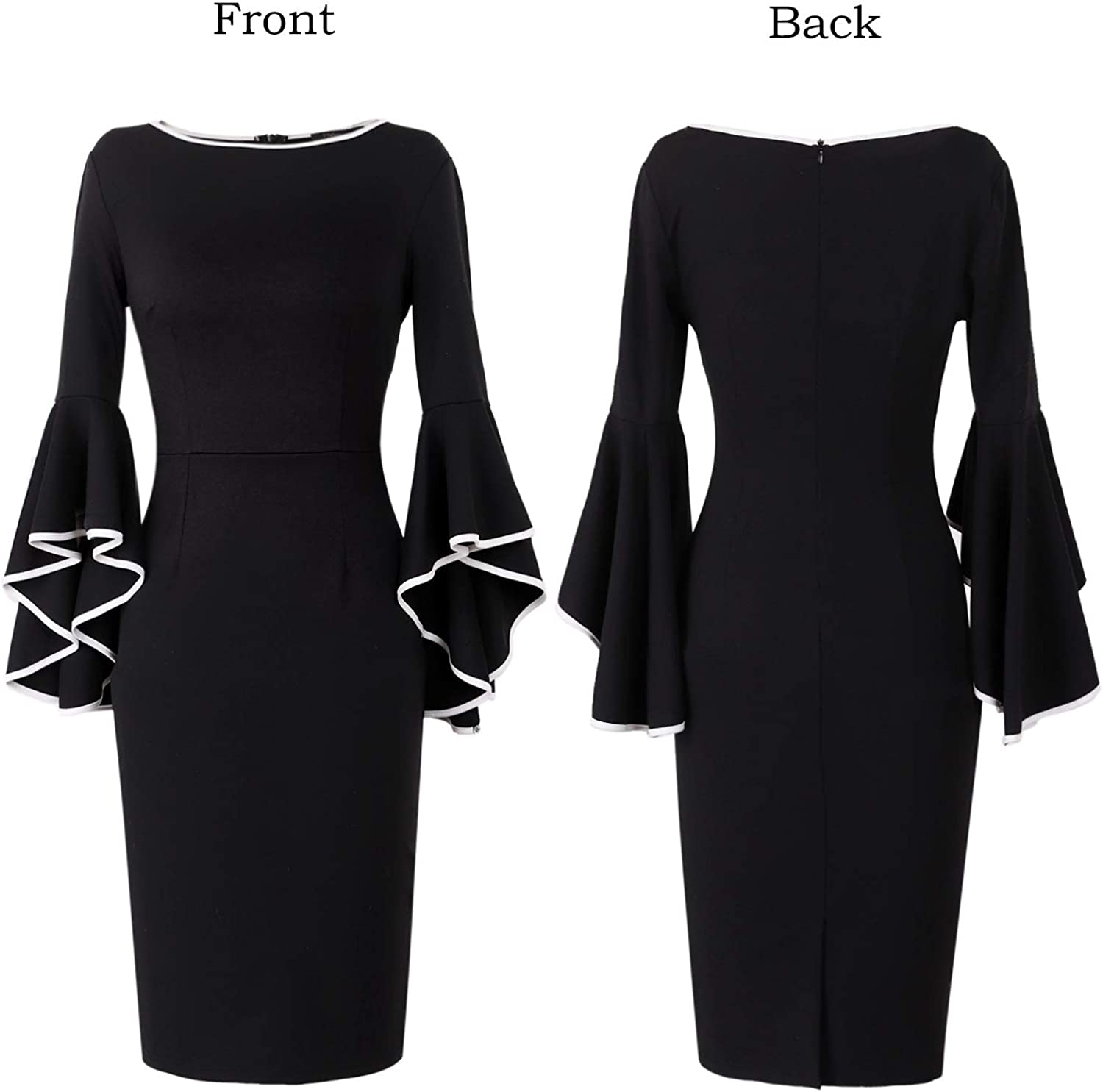VFSHOW Womens Elegant Ruffle Bell Sleeve Business Cocktail Party Bodycon Pencil Dress