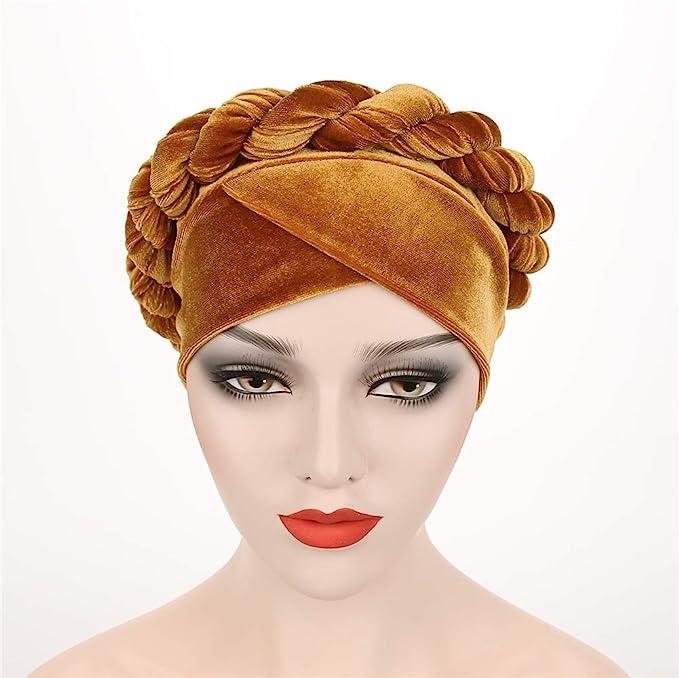 Hippie Hats,  70s Hats Fxhixiy Women Twist Hijab Velvet Hemp Braid Turban Hats Cancer Chemo Beanies Head Scarf Bandana Wrap Headwear Cap  AT vintagedancer.com