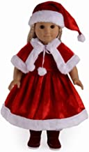 TianBo 3pc Christmas Red Color Including Hat Shawl Dresses Outsuits Fits 18 Inch American Girl Dolls, ZKB902