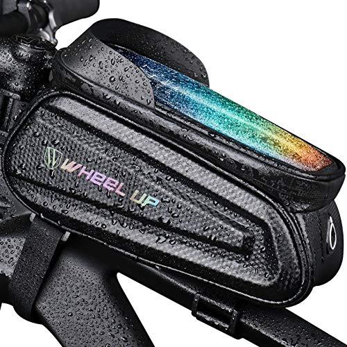 Fahrradfrontträgerpaket Hartschalen Wasserabweisender Fahrradtelefonhalterung Mit TPU-empfindlicher Touchscreen Verdickte Lenkertasche Fahrradrahmen Fahrradtelefonhalterständer-Schwarzgrau-7.0 Zoll