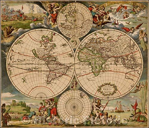Historic Map - Nova Totius Terrarum Orbis Tabula ex officina Iusti Danckerts Amstelodami, 1680, Justus Danckerts v2 51in x 44in