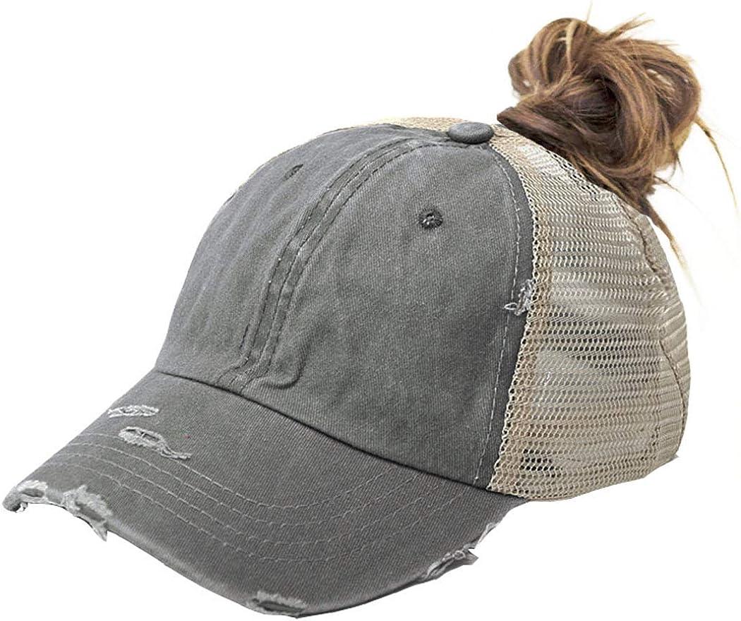 Women Criss-Cross Washed Ponytail-Hat - Mesh Baseball Cap High Bun Trucker Hats