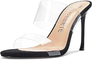 CASTAMERE Escarpins Femme Bout Ouvert Sandales Mode Transparent Aiguille Talon 10CM Heels