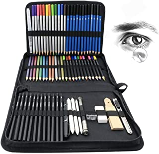 71-Piece Art Supplies Sketch Set by AsianTrends – for Painting Coloring and Drawing Pencils in Zipper Carry Case Professio...