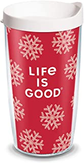 Tervis 1307433 Life is Good - Red Snowflake Insulated Tumbler with Wrap and White Lid, 16oz, Clear
