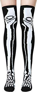 Elcoho Skeleton Over The Knees Polyester Socks Halloween Skeleton Cosplay Party Halloween Costumes