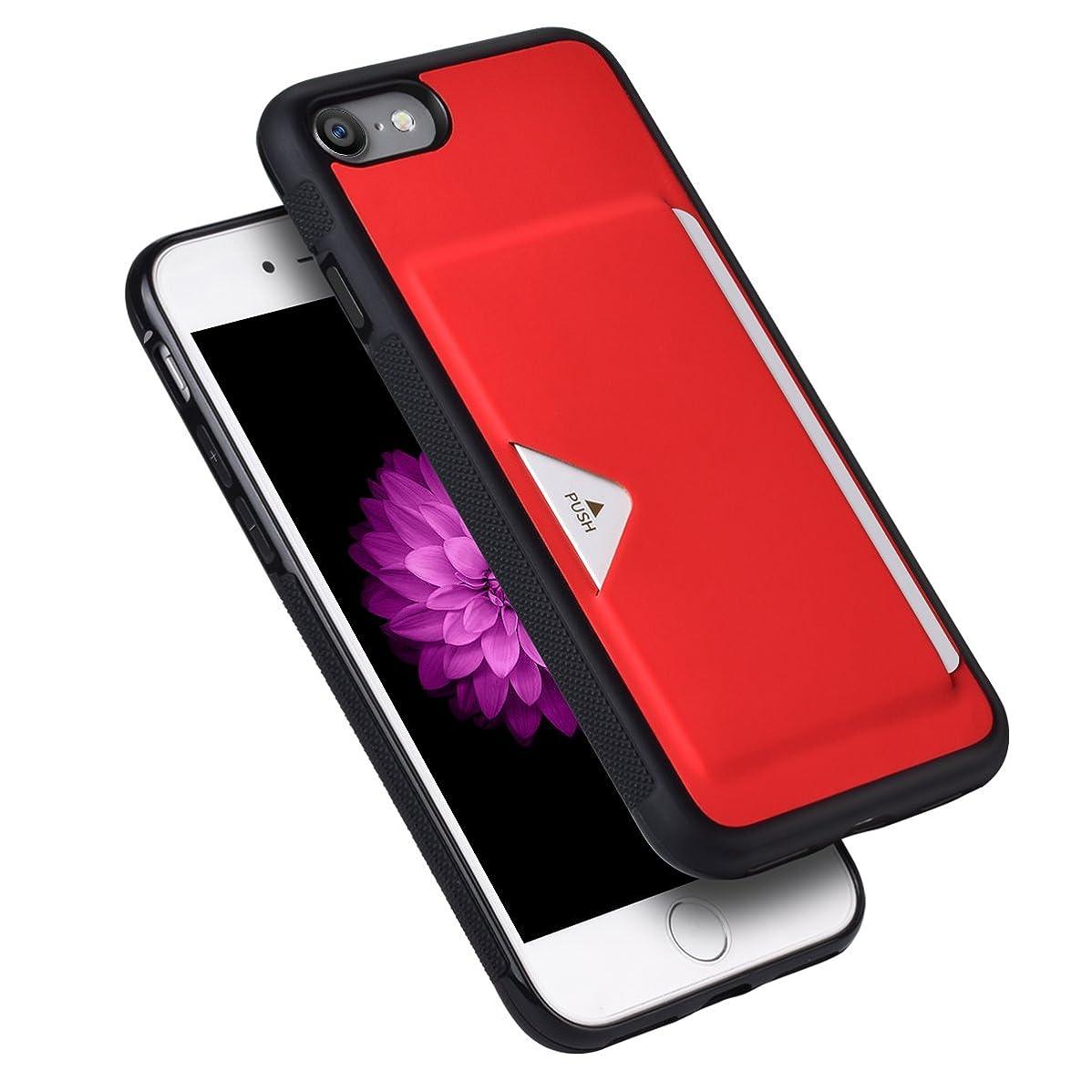 彼自身連合バイソンiPhone8ケース iPhone7ケース 薄型 ICカード収納 TPU+革製 耐衝撃 滑り防止 指紋防止 スマホケース 携帯カバー (iPhone7/8,レッド)