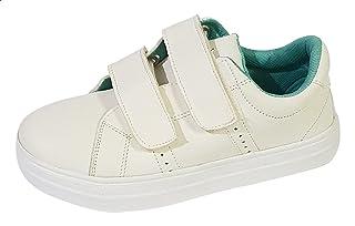 Skippy Velcro Strap Round Toe Sneakers for Boys - White, 36 EU