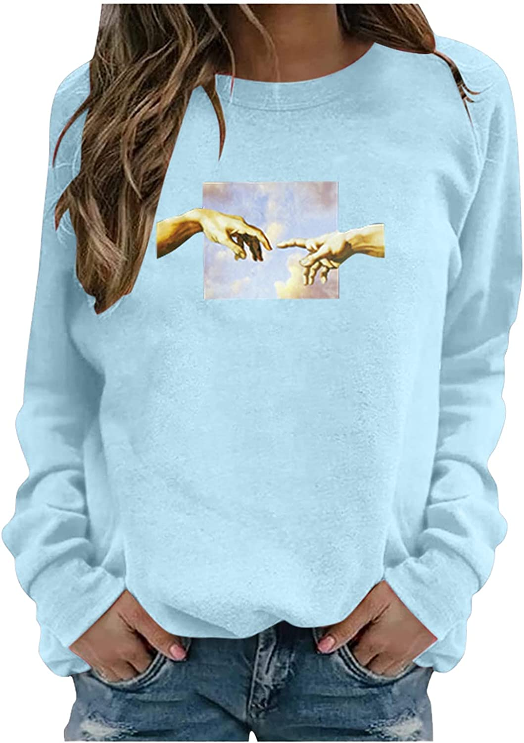 Women's Long Sleeve Sweatshirt Crew Neck Funny Graphic Casual Tunic Tops Loose Vintage Lightweight Pullover Blouse
