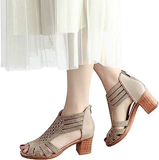 97fa395294ed07 Women s Block Mid Heel Sandals NEWONESUN Peep Toe Chunky Shoes Zipper  Crystal Hollow Out Summer Casual