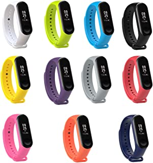 PINHEN Strap for Xiaomi Mi Band 4 Band - Miband 3 Waterproof Soft Silicone Wristband Bracelet for Xiaomi Mi Band 4 and Mi Band 3 (11pcs Set)