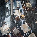 STAMPA-SU-TELA-INCORNICIATA-Llovera.Adolf-Cm_76_X_76-Ombre-di-Zurigo-Cafe-sedie-tavoli-caffè-bistrot-ristoranti-culinario-tè-caffè-ombre-di-luce-azzurri-grigi-marroni-Quadro-su-tela-con-corn