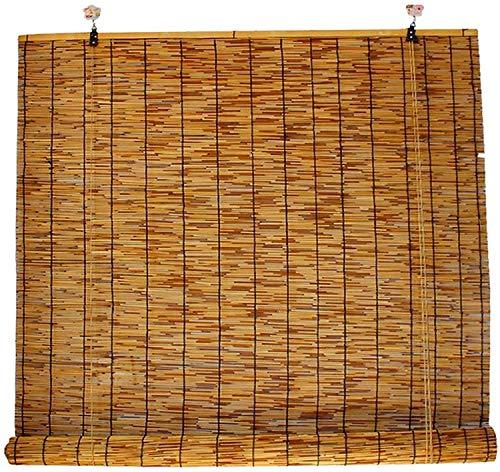 Bambú Rollo, Filtración Ligera Natural Bamboo Rollo, Pabellón De La Terraza, Bambú Rollo Para Tea Boom, Oficina, Oscurecimiento Retro Rolloos,145x350cm/58x140in