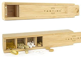 TabTime Bamboo Weekly Pill Box, 7 Day Tablet Organizer, Perfect for Vitamins, Pills and Supplements
